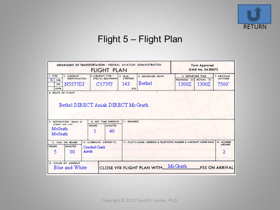 Flight 5 – Flight Plan Copyright © 2012 David R. Hunter, Ph.D.23 RETURN