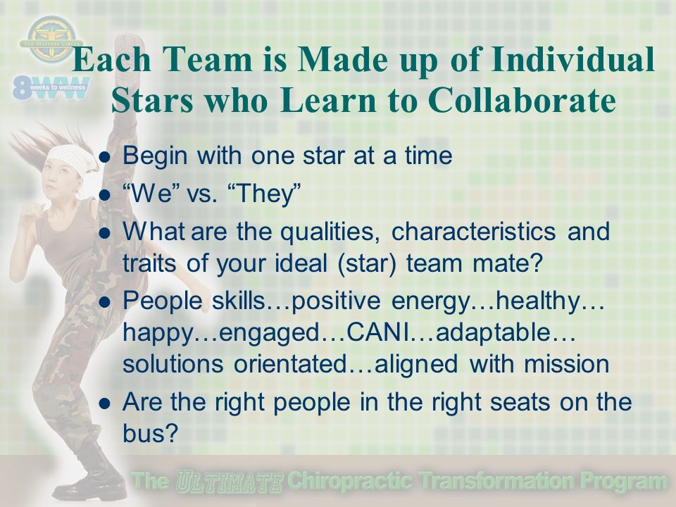 Each Team is Made up of Individual Stars who Learn to Collaborate Begin with one star at a time We vs.