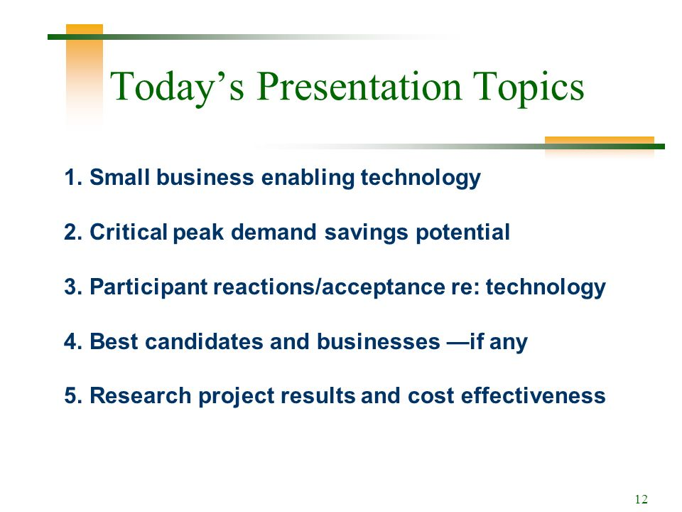 12 Todays Presentation Topics 1.Small business enabling technology 2.Critical peak demand savings potential 3.Participant reactions/acceptance re: technology 4.Best candidates and businesses if any 5.Research project results and cost effectiveness
