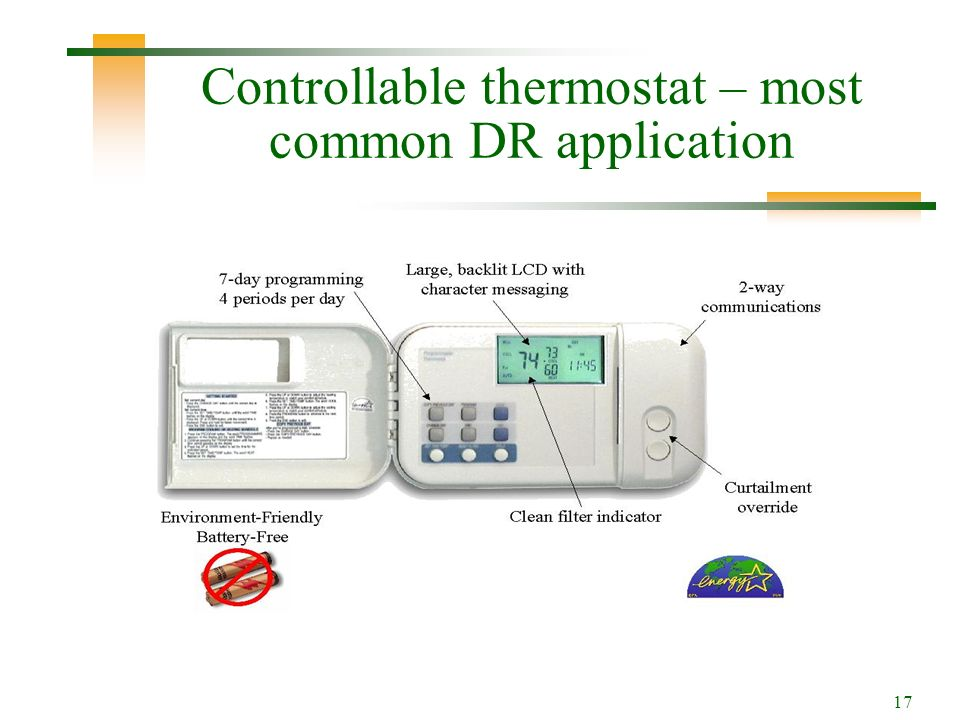 17 Controllable thermostat – most common DR application