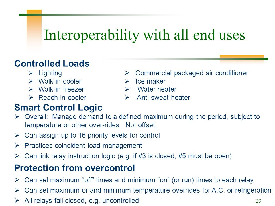 23 Interoperability with all end uses Controlled Loads Lighting Commercial packaged air conditioner Walk-in cooler Ice maker Walk-in freezer Water heater Reach-in cooler Anti-sweat heater Smart Control Logic Overall: Manage demand to a defined maximum during the period, subject to temperature or other over-rides.
