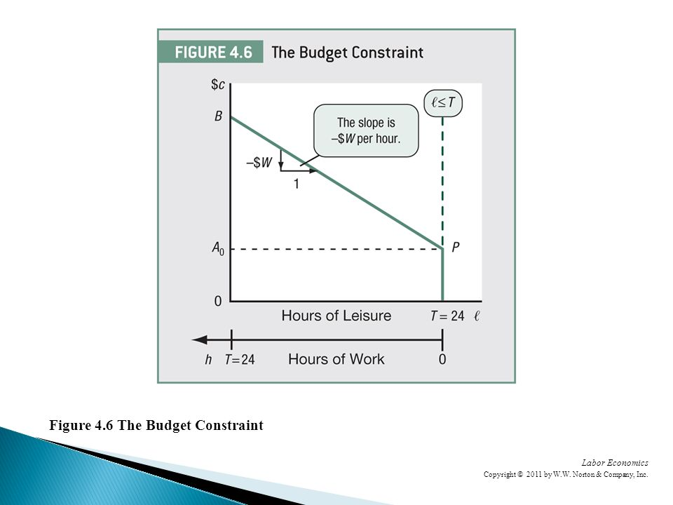 Labor Economics Copyright © 2011 by W.W. Norton & Company, Inc. Figure 4.6 The Budget Constraint