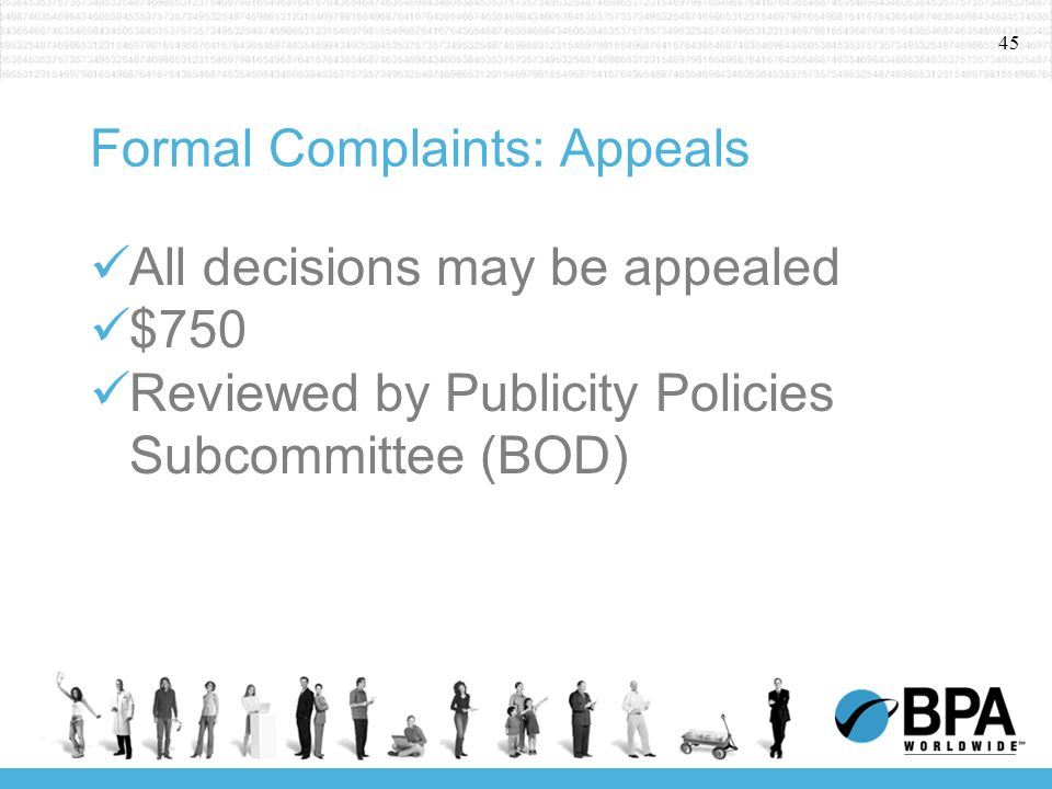 45 Formal Complaints: Appeals All decisions may be appealed $750 Reviewed by Publicity Policies Subcommittee (BOD)