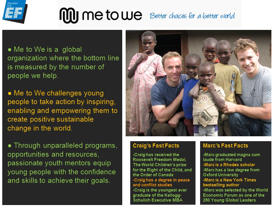 Me to We is a global organization where the bottom line is measured by the number of people we help.