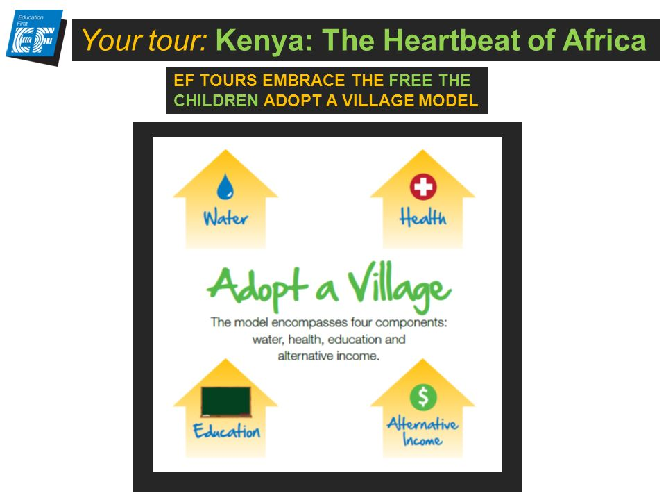 Your tour: Kenya: The Heartbeat of Africa EF TOURS EMBRACE THE FREE THE CHILDREN ADOPT A VILLAGE MODEL