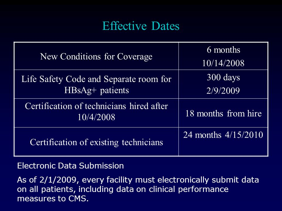Effective Dates New Conditions for Coverage 6 months 10/14/2008 Life Safety Code and Separate room for HBsAg+ patients 300 days 2/9/2009 Certification of technicians hired after 10/4/ months from hire Certification of existing technicians 24 months 4/15/2010 Electronic Data Submission As of 2/1/2009, every facility must electronically submit data on all patients, including data on clinical performance measures to CMS.