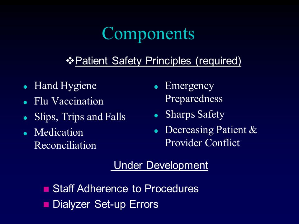 Components l Hand Hygiene l Flu Vaccination l Slips, Trips and Falls l Medication Reconciliation l Emergency Preparedness l Sharps Safety l Decreasing Patient & Provider Conflict Under Development Staff Adherence to Procedures Dialyzer Set-up Errors Patient Safety Principles (required)