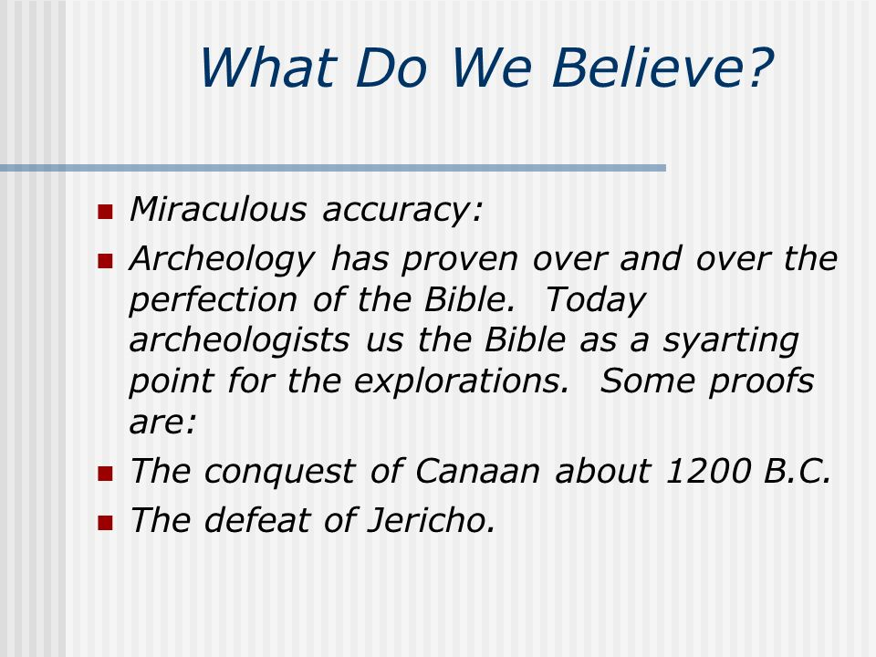 What Do We Believe.