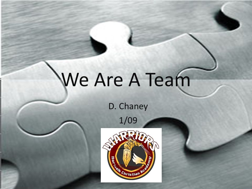 We Are A Team D. Chaney 1/09
