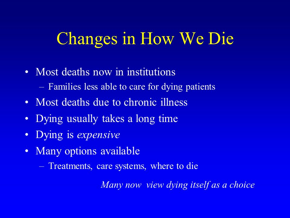 Changes in How We Die Most deaths now in institutions –Families less able to care for dying patients Most deaths due to chronic illness Dying usually takes a long time Dying is expensive Many options available –Treatments, care systems, where to die Many now view dying itself as a choice