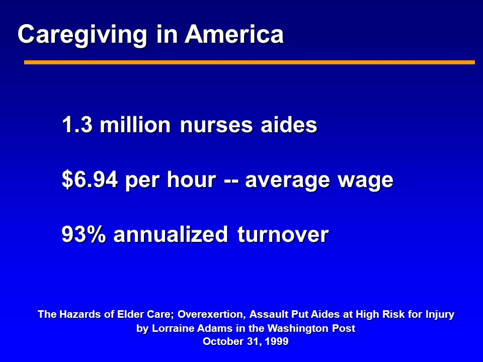1.3 million nurses aides $6.94 per hour -- average wage 93% annualized turnover The Hazards of Elder Care; Overexertion, Assault Put Aides at High Risk for Injury by Lorraine Adams in the Washington Post October 31, 1999 Caregiving in America