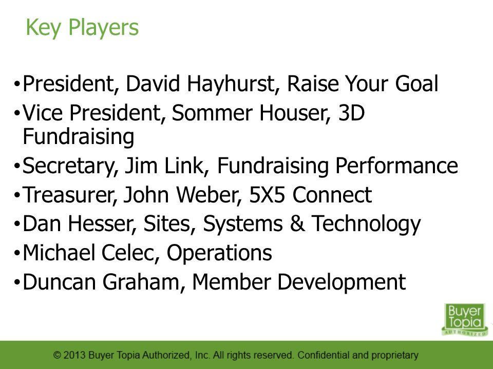 Key Players President, David Hayhurst, Raise Your Goal Vice President, Sommer Houser, 3D Fundraising Secretary, Jim Link, Fundraising Performance Treasurer, John Weber, 5X5 Connect Dan Hesser, Sites, Systems & Technology Michael Celec, Operations Duncan Graham, Member Development
