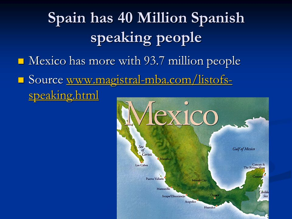 Spain has 40 Million Spanish speaking people Mexico has more with 93.7 million people Mexico has more with 93.7 million people Source www.magistral-mba.com/listofs- speaking.html Source www.magistral-mba.com/listofs- speaking.htmlwww.magistral-mba.com/listofs- speaking.htmlwww.magistral-mba.com/listofs- speaking.html