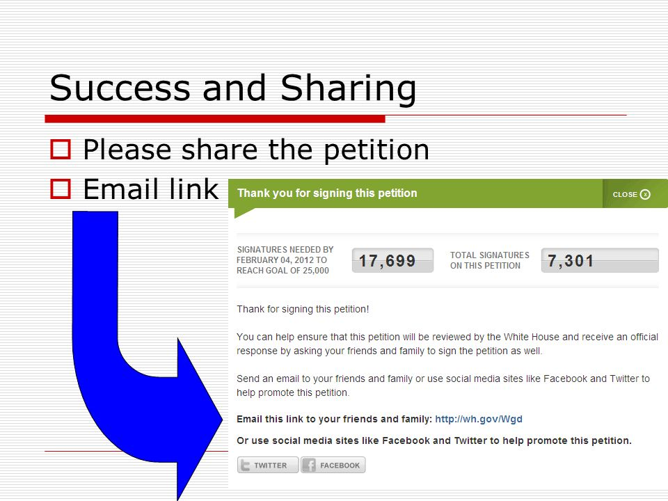 Success and Sharing Please share the petition Email link