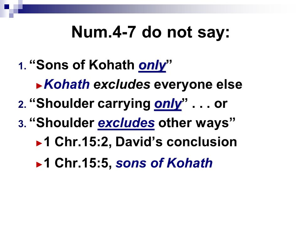 Num.4-7 do not say: only 1. Sons of Kohath only Kohath excludes everyone else only 2.