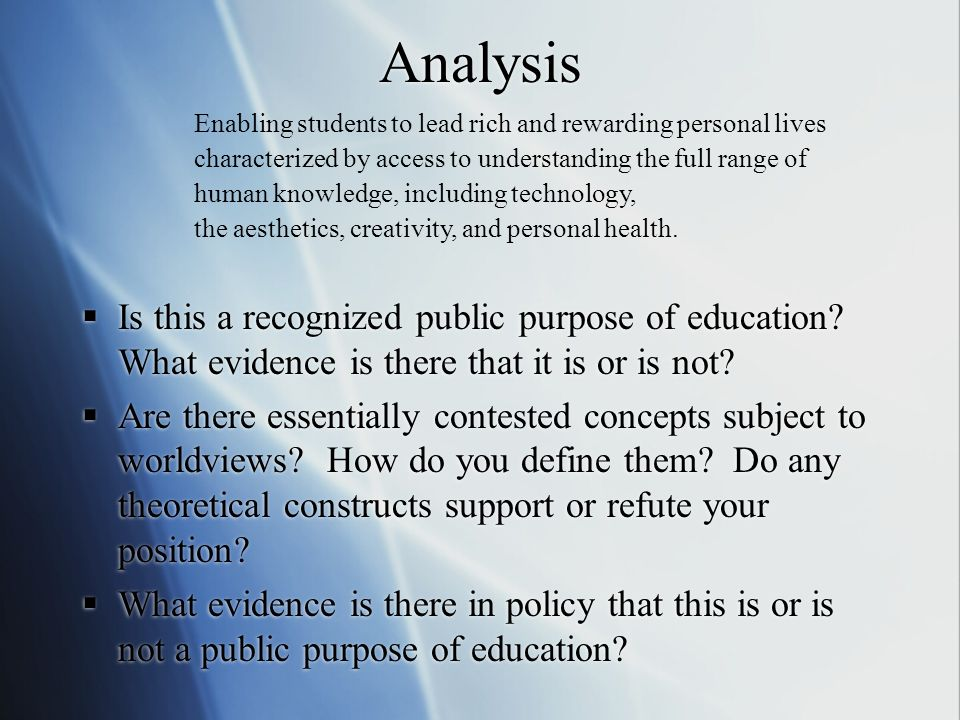 What are the public purposes of education. 4.