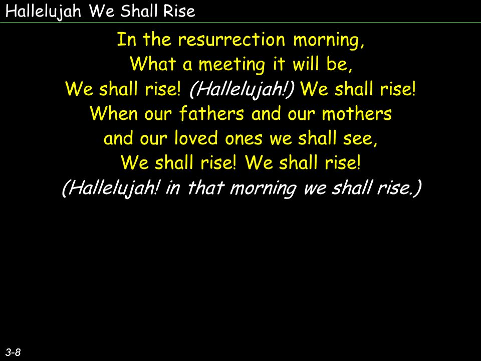 Hallelujah We Shall Rise 3-8 In the resurrection morning, What a meeting it will be, We shall rise.