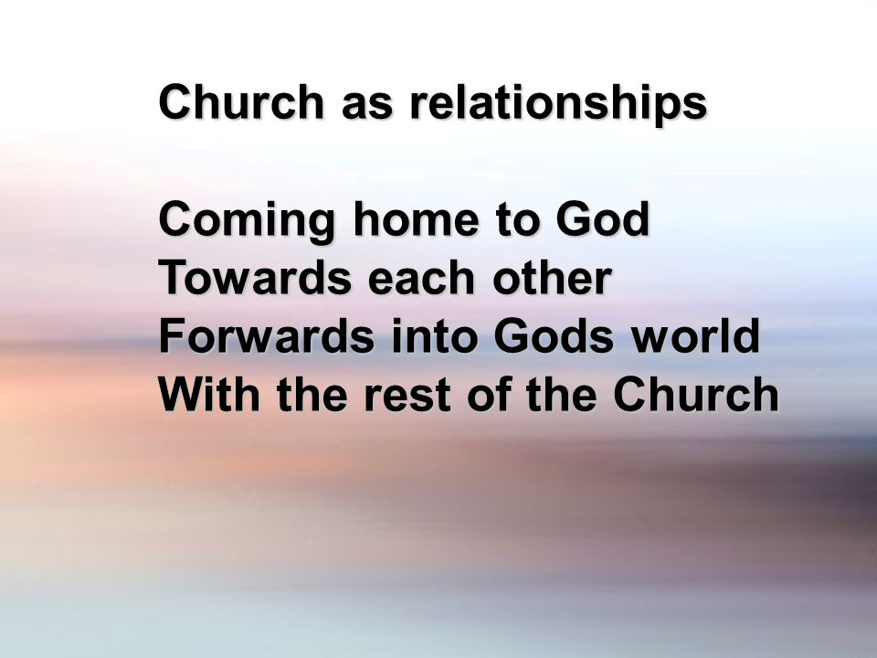 Church as relationships Coming home to God Towards each other Forwards into Gods world With the rest of the Church