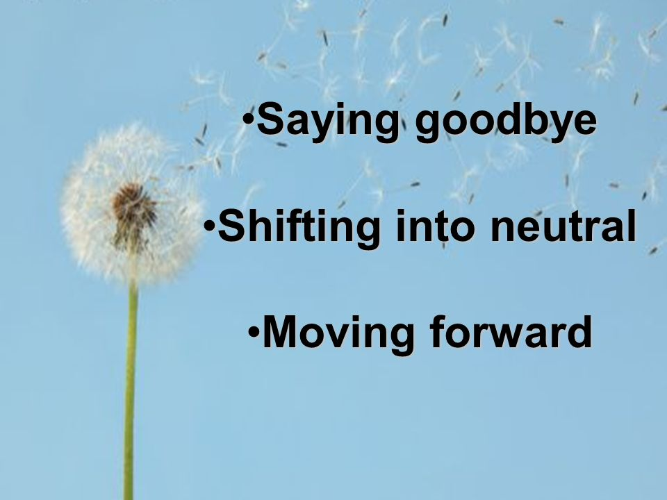 Saying goodbyeSaying goodbye Shifting into neutralShifting into neutral Moving forwardMoving forward