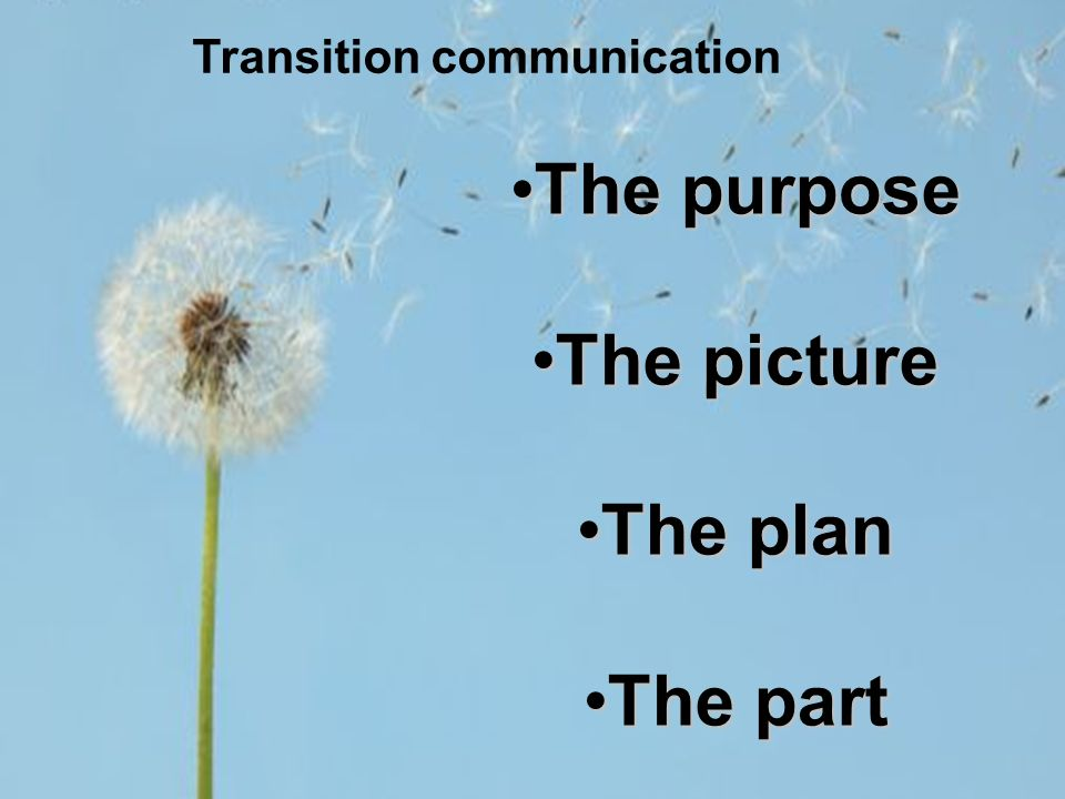 The purposeThe purpose The pictureThe picture The planThe plan The partThe part Transition communication