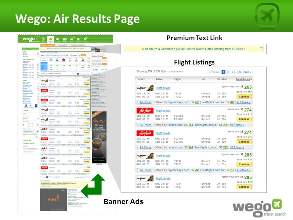 Wego: Air Results Page Premium Text Link Flight Listings Banner Ads