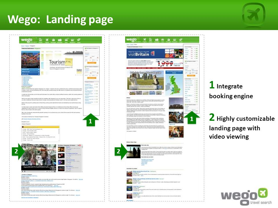 Wego: Landing page 2 Highly customizable landing page with video viewing 1 Integrate booking engine