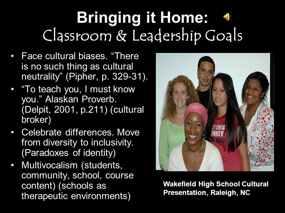 Bringing it Home: Goals and Strategies To teach you I must know you.