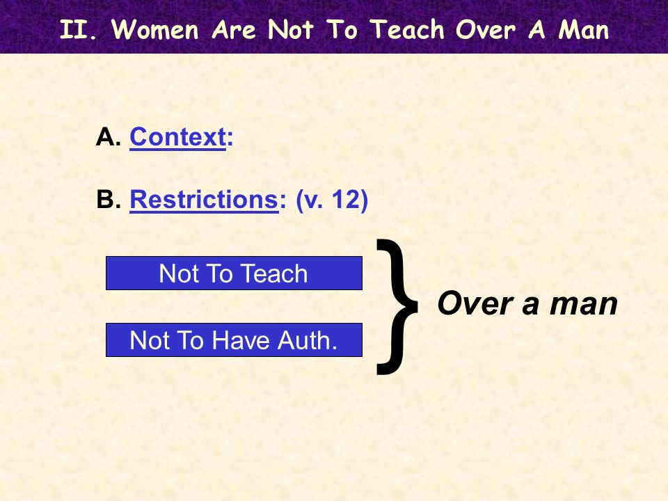 II. Women Are Not To Teach Over A Man A. Context: B.