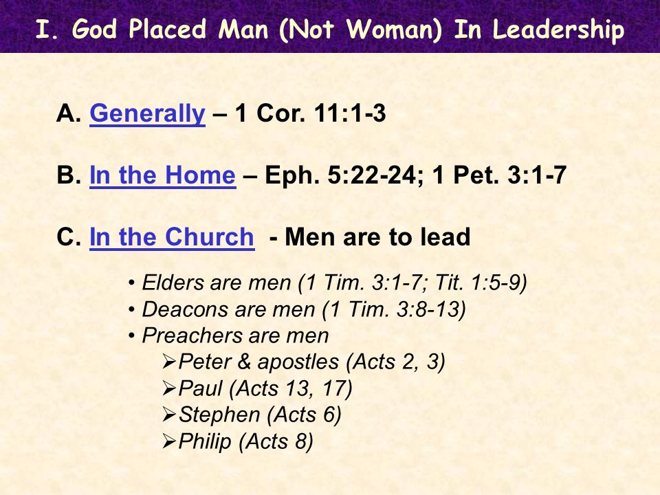 I. God Placed Man (Not Woman) In Leadership A. Generally – 1 Cor.