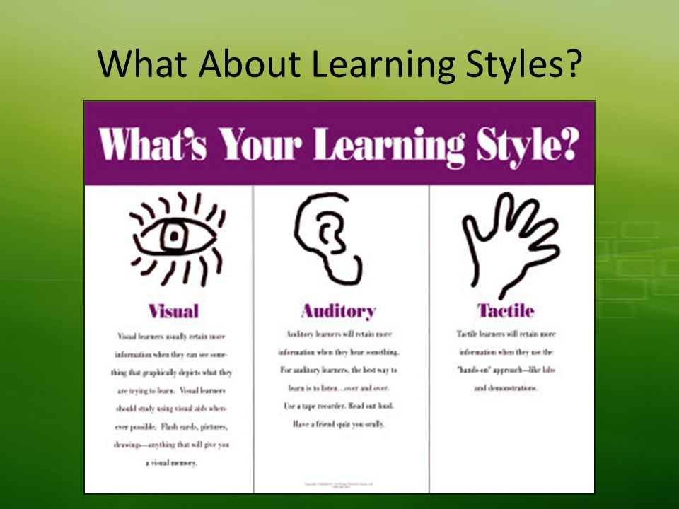 What About Learning Styles