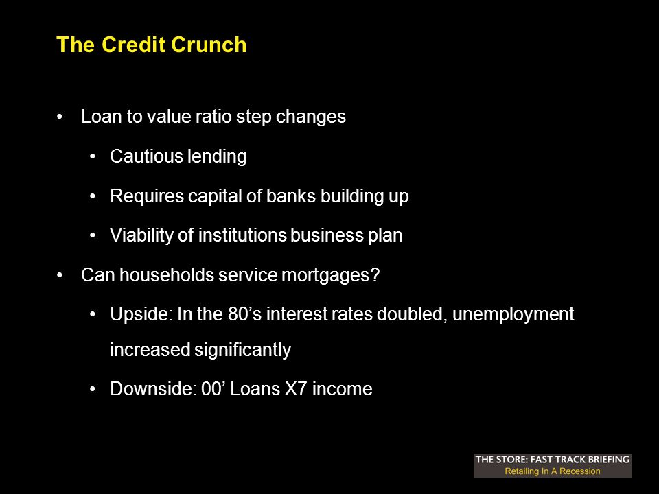 The Credit Crunch Loan to value ratio step changes Cautious lending Requires capital of banks building up Viability of institutions business plan Can households service mortgages.