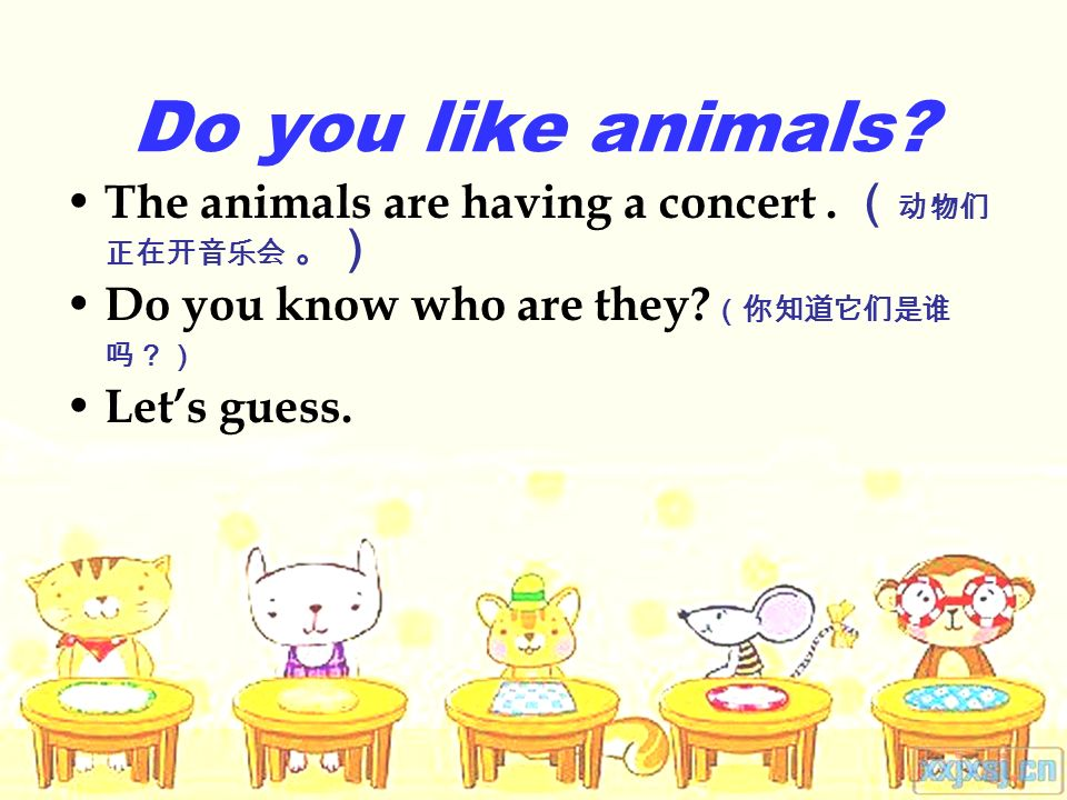 Do you like animals The animals are having a concert. Do you know who are they Lets guess.
