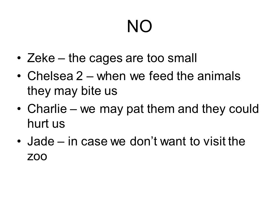 NO Zeke – the cages are too small Chelsea 2 – when we feed the animals they may bite us Charlie – we may pat them and they could hurt us Jade – in case we dont want to visit the zoo