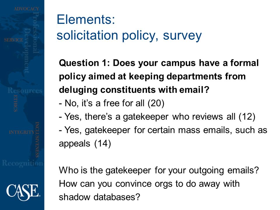 Elements: solicitation policy, survey Question 1: Does your campus have a formal policy aimed at keeping departments from deluging constituents with  .