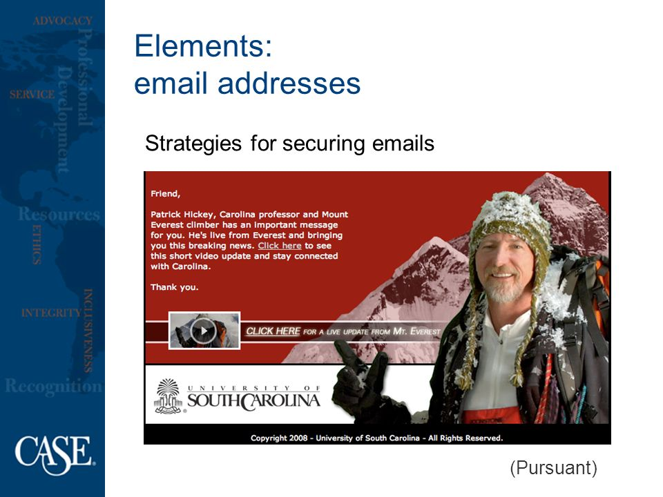 Elements:  addresses Strategies for securing  s (Pursuant)