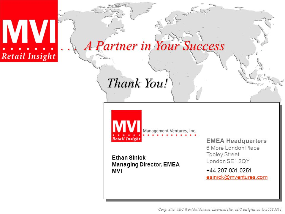 Thank You!... A Partner in Your Success Corp.