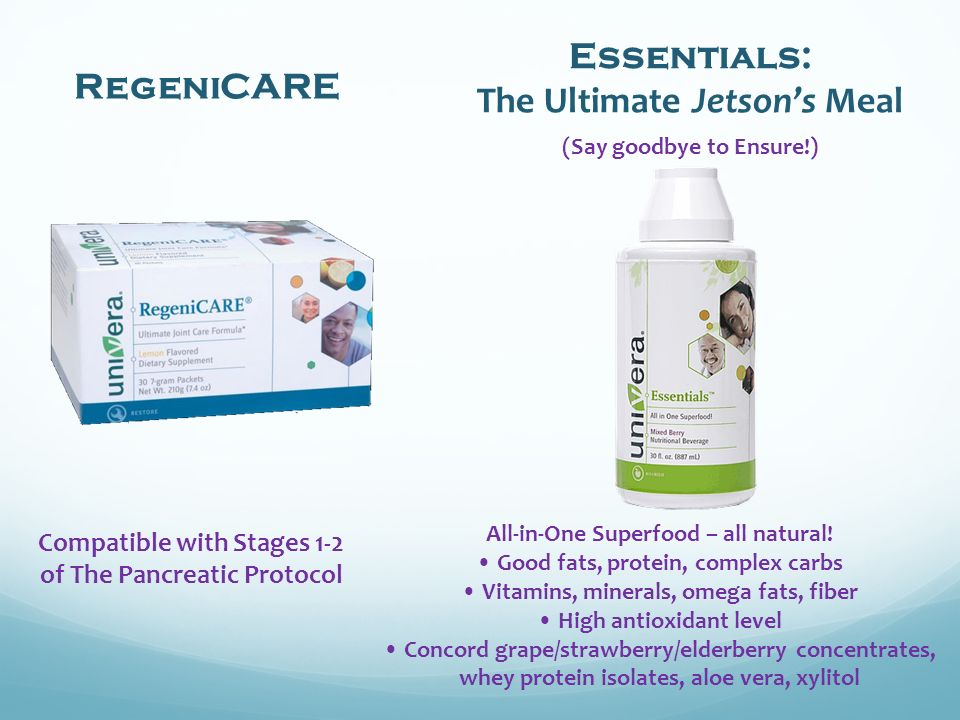 Compatible with Stages 1-2 of The Pancreatic Protocol RegeniCARE Essentials: The Ultimate Jetsons Meal (Say goodbye to Ensure!) All-in-One Superfood – all natural.