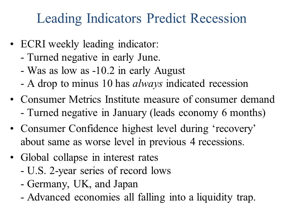 Leading Indicators Predict Recession ECRI weekly leading indicator: - Turned negative in early June.