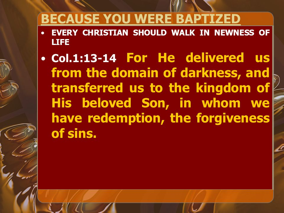 BECAUSE YOU WERE BAPTIZED EVERY CHRISTIAN SHOULD WALK IN NEWNESS OF LIFE Col.1:13-14 For He delivered us from the domain of darkness, and transferred us to the kingdom of His beloved Son, in whom we have redemption, the forgiveness of sins.