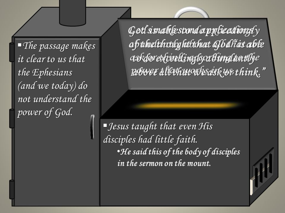 The passage makes it clear to us that the Ephesians (and we today) do not understand the power of God.
