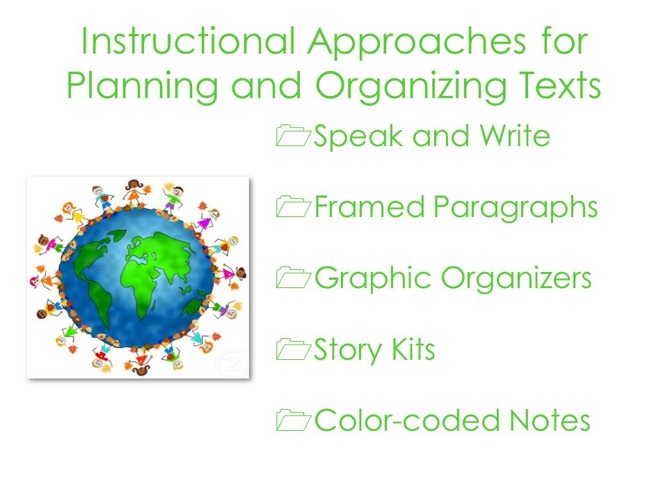 Instructional Approaches for Planning and Organizing Texts Speak and Write Framed Paragraphs Graphic Organizers Story Kits Color-coded Notes
