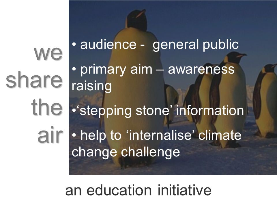an education initiative audience - general public primary aim – awareness raising stepping stone information help to internalise climate change challenge we share the air