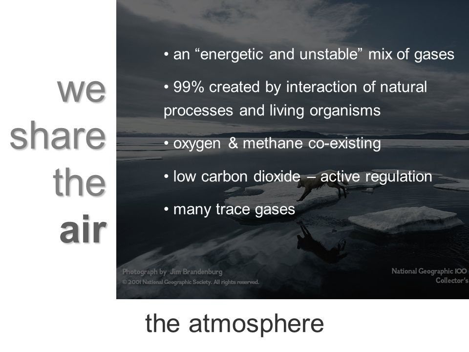 we share the air the atmosphere an energetic and unstable mix of gases 99% created by interaction of natural processes and living organisms oxygen & methane co-existing low carbon dioxide – active regulation many trace gases