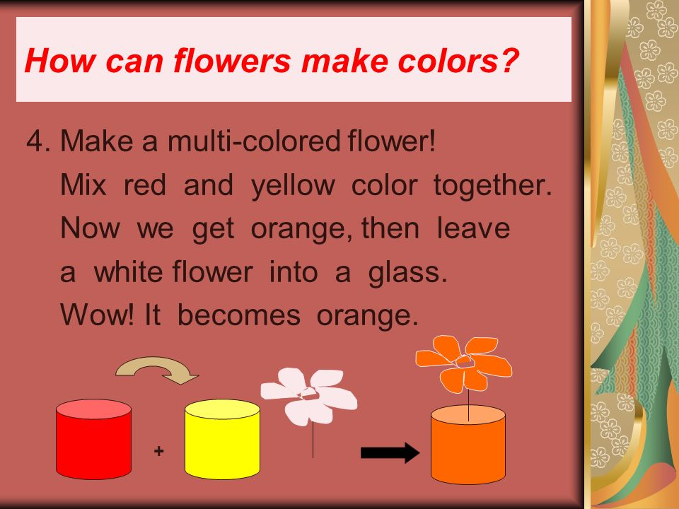 4. Make a multi-colored flower. Mix red and yellow color together.