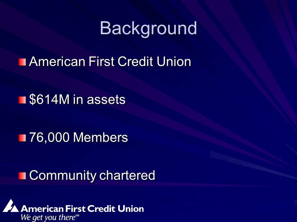 Background American First Credit Union $614M in assets 76,000 Members Community chartered