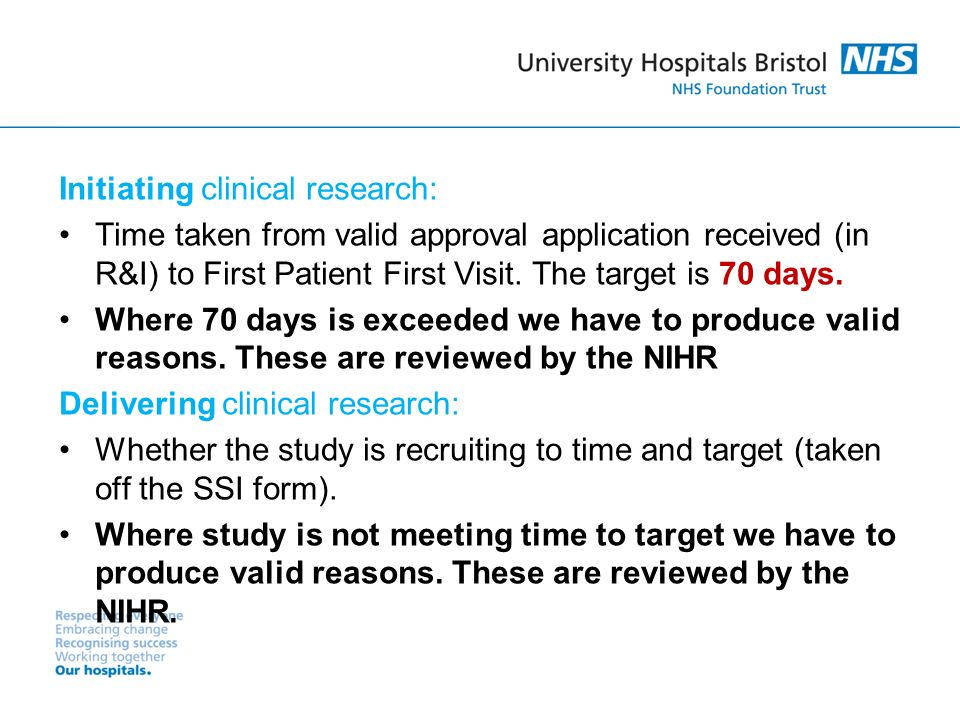 Initiating clinical research: Time taken from valid approval application received (in R&I) to First Patient First Visit.