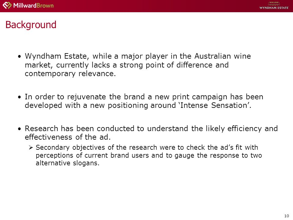 10 Background Wyndham Estate, while a major player in the Australian wine market, currently lacks a strong point of difference and contemporary relevance.