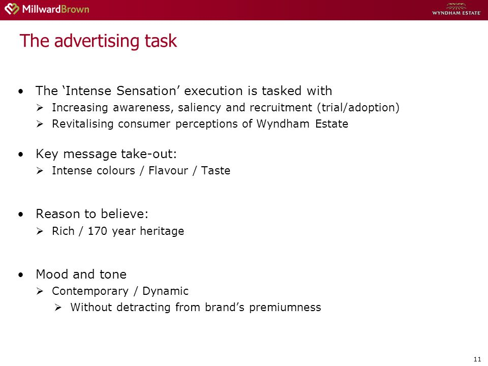 11 The Intense Sensation execution is tasked with Increasing awareness, saliency and recruitment (trial/adoption) Revitalising consumer perceptions of Wyndham Estate Key message take-out: Intense colours / Flavour / Taste Reason to believe: Rich / 170 year heritage Mood and tone Contemporary / Dynamic Without detracting from brands premiumness The advertising task