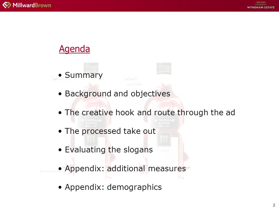 2 Agenda Summary Background and objectives The creative hook and route through the ad The processed take out Evaluating the slogans Appendix: additional measures Appendix: demographics