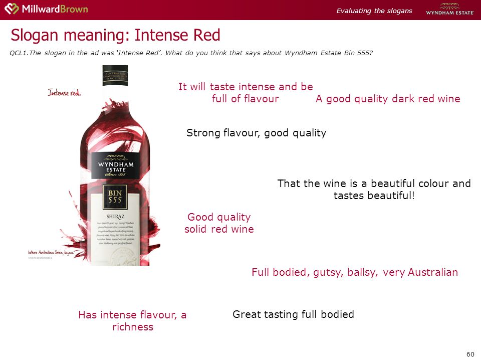 60 Slogan meaning: Intense Red Full bodied, gutsy, ballsy, very Australian That the wine is a beautiful colour and tastes beautiful.